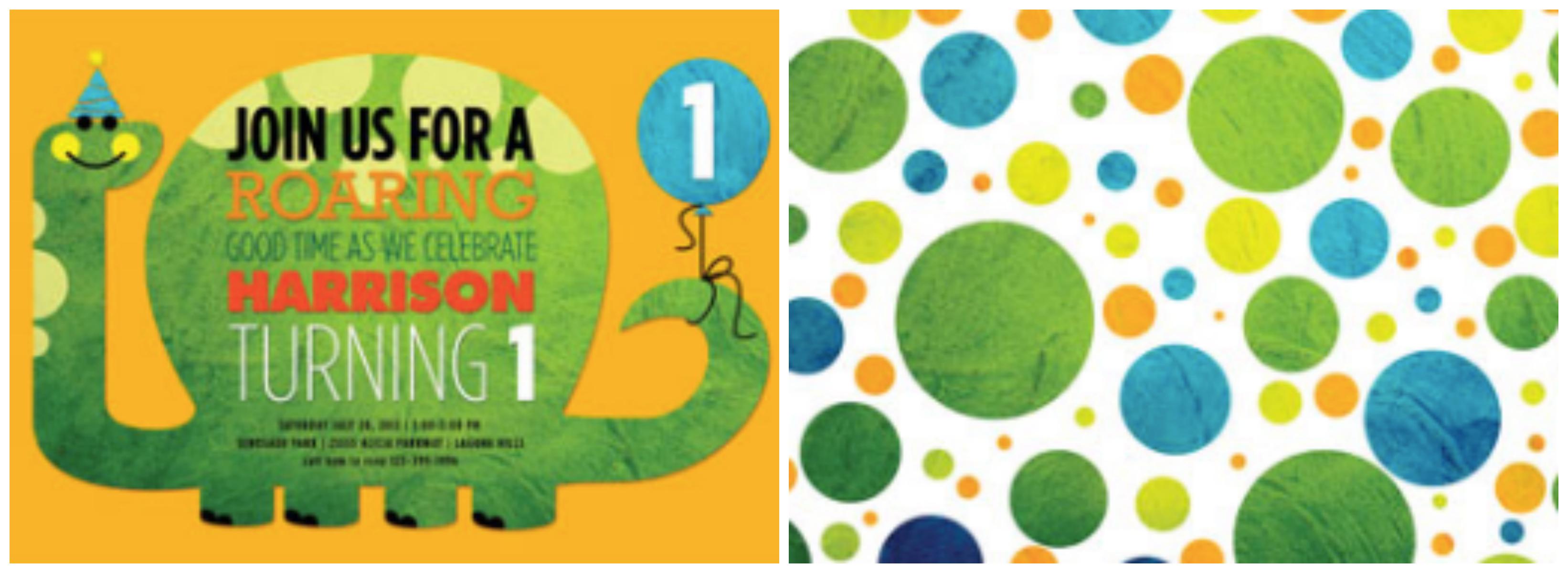 Dinosaur 1st birthday invitation Collage