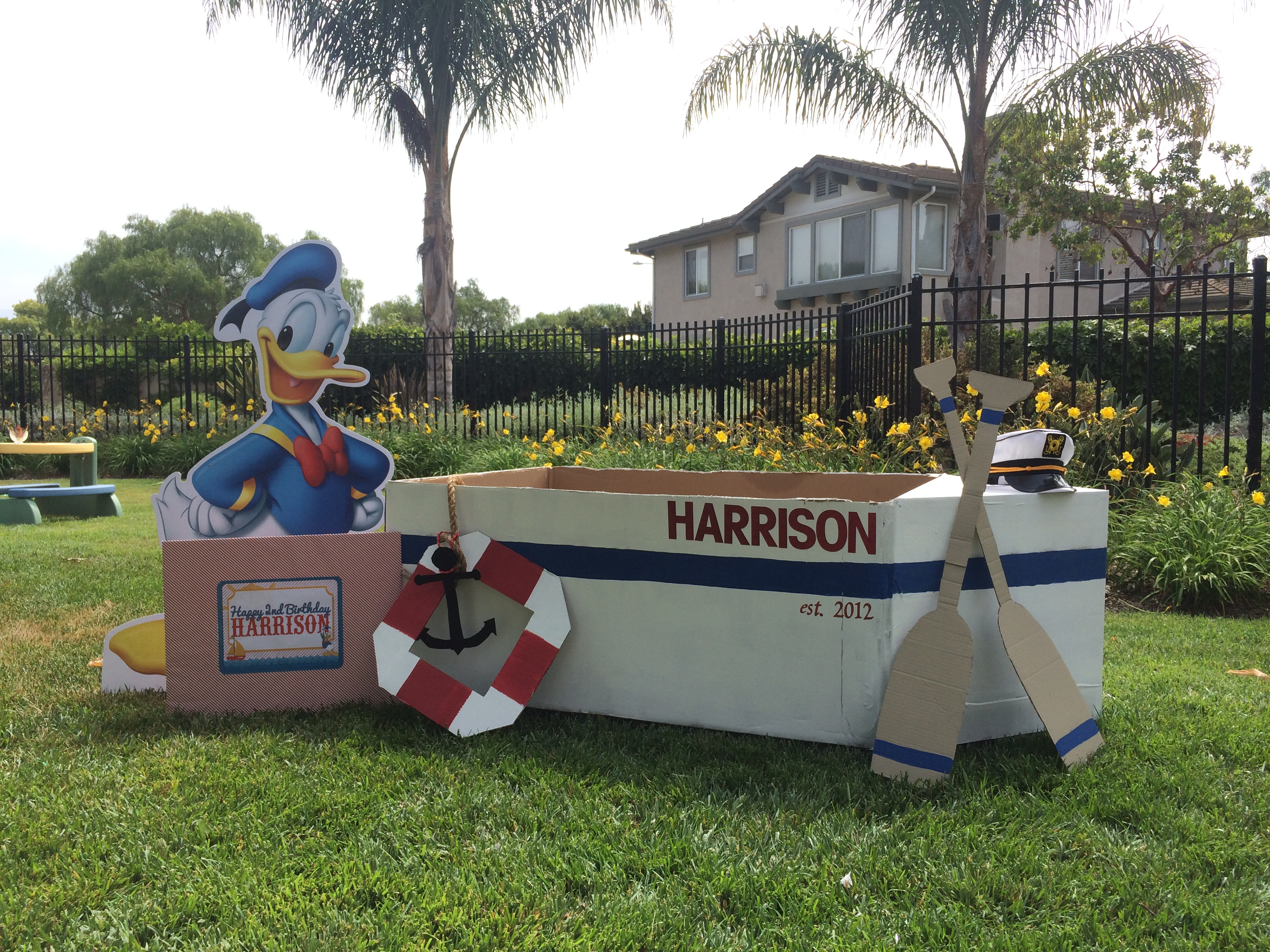 Donald Duck Nautical Birthday Photo Booth Cardboard Boat